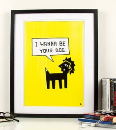 Pop art poster print black and white cartoon dog by kyd13 on Etsy, $14.95