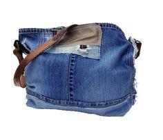 Denim Bag EVERY DAY BAGHobo Bag Denim HandbagLeather by ADENKIN
