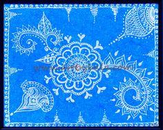 "Flying High, 2012. 9"" x 12"" Textured henna style acrylics painting on gesso board with frame. © Bala Thiagarajan, 2012. www.artbybala.com"