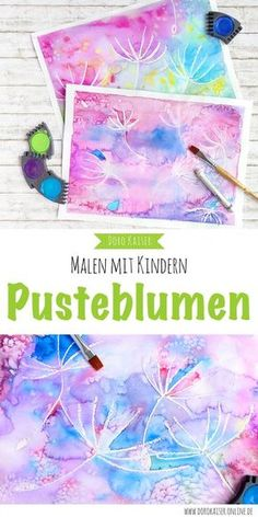 Malen mit Kindern: wunderbare Pusteblumen mit Wasserfarben malen Painting with children – an idea for the summer: paint dandelions with watercolors and crayons. Diy Crafts To Do, Kids Crafts, Arts And Crafts, Fun Craft, Maila, Painting For Kids, Children Painting, Summer Painting, Time Painting