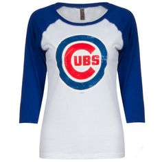 Chicago Cubs Women's White and Royal Bullseye Logo 3/4 Sleeve Baseball Tee by G-III #Chicago #Cubs #ChicagoCubs