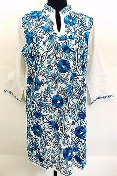 Cotton Hand Embroidered Kurti Kurta Summer Tunic Dress Mexican Top White Blue XL  | eBay