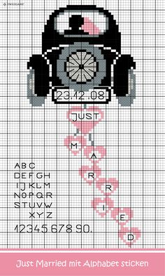 """Embroider wedding car """"Just Married"""" - Discover numerous free charts to embroider! - Zweigart & Sawitzki GmbH & Co. KG - - Embroider wedding car """"Just Married"""" - Discover numerous free charts to embroider! - Zweigart & Sawitzki GmbH & Co. Cross Stitch Books, Cross Stitch Heart, Cross Stitch Cards, Cute Cross Stitch, Cross Stitching, Cross Stitch Embroidery, Embroidery Patterns, Crochet Patterns, Cross Stich Patterns Free"""