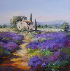 Weg durch Lavendelfelder in der Haute-Provence. Ein Haus mit Zypressen steht diekt an den leuchtend blau-violetten Feldern - hier möchte man Urlaub machen! #provence #lavender #oilpainting