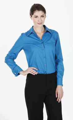 Long Sleeve Double Cuff Blouse, Teal