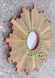 #ThePaintedCabeza ~ Ive hand painted this mirrors wooden frame with concentric circles using acrylics with lime, black, and magenta. This beautiful piece is