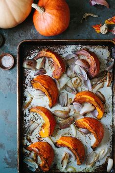 A Simple Recipe for Roasted Red Kuri Squash - A Daily SomethingA Daily Something Pumpkin Squash, Roast Pumpkin, Baked Pumpkin, Pumpkin Recipes, Fall Recipes, Kuri Squash Recipe, Red Kuri Squash, Veggie Side Dishes, Vegetable Dishes