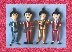 Vintage Beatles Christmas Ornaments: These colorful ornaments depict each of the Beatles: Paul McCartney, John Lennon, George Harrison and Ringo Starr. Christmas Albums, Christmas Past, Retro Christmas, Vintage Holiday, Country Christmas, Christmas Stuff, White Christmas, Christmas Ideas, Antique Christmas Ornaments