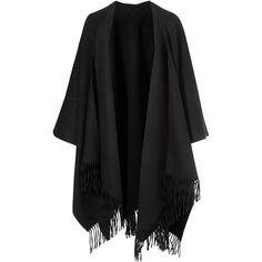 Acne Studios Black Apolo Fringed Poncho Scarf ($350) ❤ liked on Polyvore featuring accessories, scarves, jackets, fringe scarves, acne studios and fringed shawls