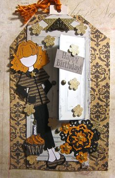 Happy Birthday tag using Prima doll stamp and tag and Tim Holtz stamp.