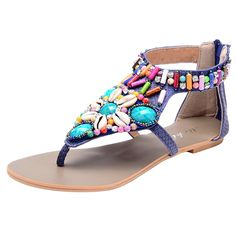 Odema Summer Bohemian Beaded Flat Womens Beach Thong Sandals >>> Check this awesome image  : Gladiator sandals