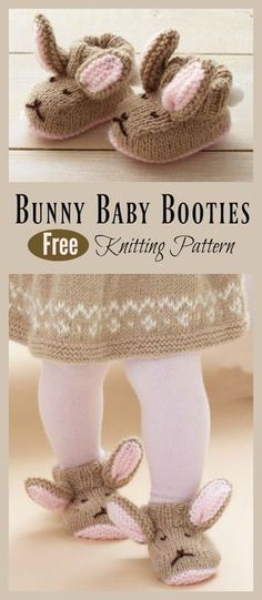 This Bunny Baby Booties Knitting Pattern are a adorable set of booties that are great for keeping babies feet warm.This post was discovered by nu Baby Booties Knitting Pattern, Knit Baby Booties, Booties Crochet, Baby Knitting Patterns Free Cardigan, Knitting Baby Girl, Knitted Baby Clothes, Knitted Baby Socks, Baby Knits, Crochet Baby Sandals
