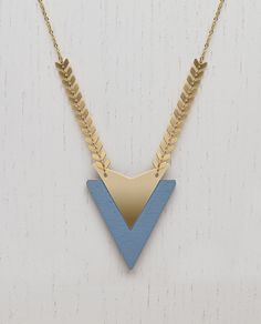 Wooden Chevron Necklace Blue