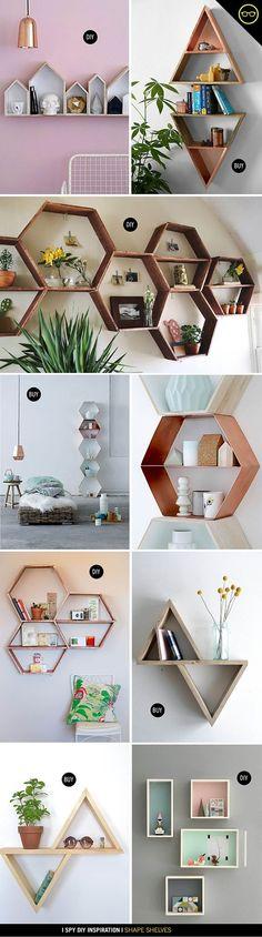 DIY Unique Shape Floating Shelves Design Ideas