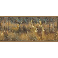 York Wallcoverings WG0346BD White Tail Deer Border Yellow / Brown Home Decor Wallpaper Borders