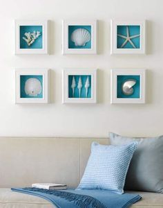22 Creative DIY Seashell Projects You Can Make shells, white shadow box frames,brilliant blue background = beach inspired wall art Seashell Projects, Seashell Crafts, Beach Crafts, Diy Projects, Beach Wall Decor, Beach House Decor, Bedroom Wall Decorations, Ocean Home Decor, Nautical Wall Art