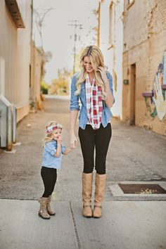 Adorbs!!! Mommy and Me chambray and plaid.