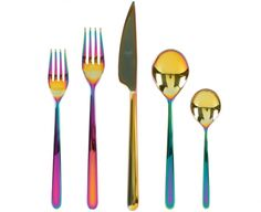 Mepra's Linea Rainbow flatware is glamorous and modern. Its iridescent finish changes according to the light and no two pieces are identical. The unique rainbow finish is acheived by heating the titanium-coated steel pieces in a vacuum chamber and heating at very high temperatures. This causes the metal molecules to alter and leave behind this special finish. Scroll down for more info.