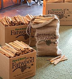 Plow & Hearth~Resin-Rich- Easy-Start Fatwood Kindling
