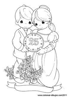 vestidos de bodas de oro | dibujo de bodas de plata para colorear