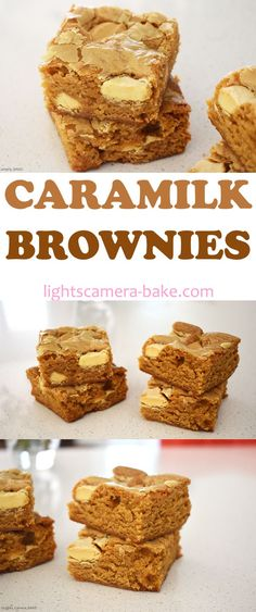 Caramilk Brownies are rich and fudgy caramelised white chocolate brownies with pieces of Caramilk chocolate studded throughout. Brownie Recipes, Chocolate Recipes, Cookie Recipes, Dessert Recipes, Chocolate Brownies, Yummy Treats, Delicious Desserts, Sweet Treats, Yummy Food