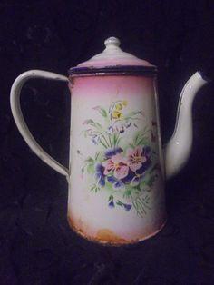 Ancienne Cafetière émaillée XIX eme motifs floral