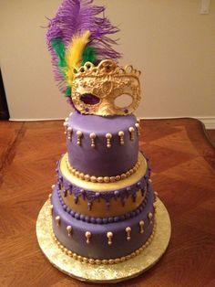Mardi Gras cake gilded and  Gum paste mask