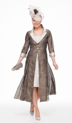 Silk organza jacquard coat with contrast collar and cuff over short silk dress. made to measure in range of colours