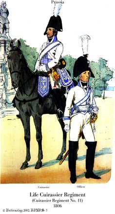 1806: Curassier and Officer, Life Cuirassier Regiment (No. 11), Prussia
