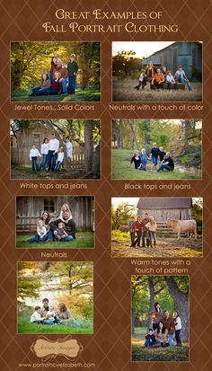 Examples of how to coordinate fall portrait clothing without being matchy-matchy