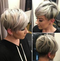 Sassy Undercut Pixie with Bangs Modern short pixie cuts are never cut evenly. Shaved sections can border on extra long pieces while being topped with mid-length spikes. Add a trendy blonde shade…More Haircuts For Fine Hair, Short Pixie Haircuts, Short Hairstyles For Women, Cool Hairstyles, Hairstyles 2018, Hairstyle Ideas, Hair Ideas, Sport Hairstyles, Choppy Haircuts