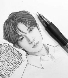 Kpop Drawings, Art Drawings, Unexpected Love, Diy Flowers, Flower Diy, Kpop Fanart, Sketches, Fan Art, Deco