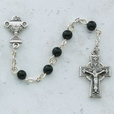 First Communion Rosary Black Beads with Pewter Celtic Crucifix and Center Catholic Christian Religious Gifts Of Love Faith Inspiration Christian Catholic-Jewish Jewelry Catholic Gifts, Religious Gifts, Irish Catholic, Religious Cross, Rosary Catholic, Jewish Jewelry, Religious Jewelry, Christian Jewelry, Christian Gifts