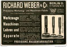 Original-Werbung/ Anzeige 1903 : PRÄCISIONS- WERKZEUGE RICHARD WEBER BERLIN - ca  180 x 90 mm