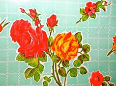 Oilcloth Yardage Roses on Aqua from Oilcloth by oilclothaddict, $8.00