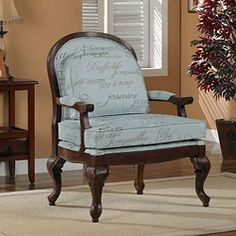 @Overstock - Add a touch of elegance to your living room or office with this stylish arm chair. Its walnut finish and reversible script cushions give it a contemporary look that will fit almost any decor. The chairs padded arms and back provide extra comfort.http://www.overstock.com/Home-Garden/Script-Bouquet-Arm-Chair/5486847/product.html?CID=214117 $249.99