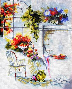 50%OFF//NEEDLEPOINT CANVAS//*a Scene by Rico Goblain. A Vintage Canvas  of a Livingroom with lots of Flowers. // Was(165.00 Dollars) Now!!
