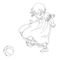 girl kicking ball, vintage baby clip art, black and white clipart, free child image, antique baby illustration