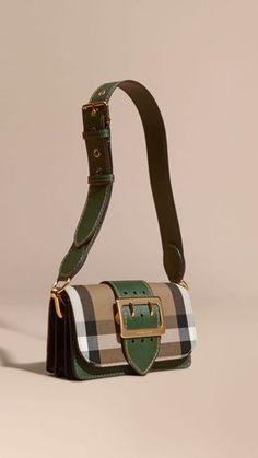 c3176bc88e5e Vert kelly vert kelly Sac The Buckle en coton à motif House check et cuir