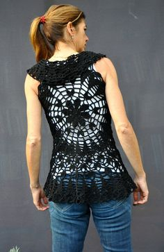 Mandala crochet vest / Handmade crochet lace vest / by SophieCRO
