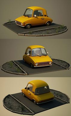 Cartoon car by Aci-RoY on DeviantArt Zbrush, Prop Design, Game Design, 3d Design, Graphic Design, Low Poly Car, Foto 3d, Pixar, 3d Modelle
