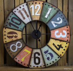 23 Large Colored Industrial Style Wooden  Metal Wall Clock Iron Metal >>> More info could be found at the image url.