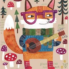Theses one guitar playing fox! From who else? THE Lauren Lowen! If you are the art director lucky enough to get your hands on this, you've got 3 great coordinating patterns to go with him. Wow! @laurenmincolowen