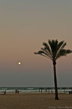 Moonrise, Playa de Cullera, Spain