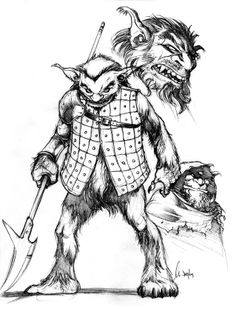 A bugbear is depicted as a massive humanoid distantly related to goblins and hobgoblins. Named for the bugbear of legend, the bugbears of Dungeons & Dragons are goblinoid creatures, larger and stronger than hobgoblins.  Gary Gygax adapted the bugbear, and introduced the creature to the game in the 1975 Greyhawk supplement; the creature has since appeared in every subsequent edition of the game, including the game's first edition, second edition, third edition, and fourth edition.