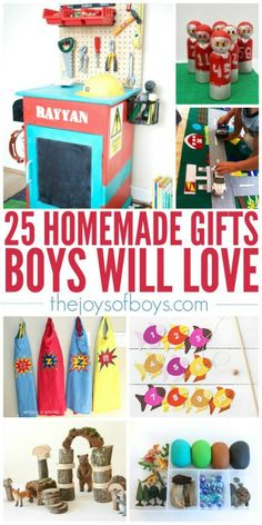 I love giving homemade gifts to my kids! There are so many cute ideas here that boys will love. #gifts #giftideas #giftidea #giftsforboys #diy
