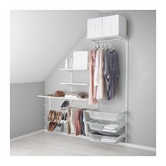 IKEA - ALGOT, Wall upright/shelves/pants hanger, The parts in the ALGOT series can be combined in many different ways and easily adapted to your needs and space.You click the brackets into the ALGOT wall uprights wherever you want to have a shelf or accessory – no tools needed.Can also be used in bathrooms and other damp indoor areas.