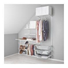 IKEA - ALGOT, Veggskinne/hyller/buksehenger, Delene i ALGOT-serien kan kombineres på mange ulike måter og er derfor enkle å tilpasse etter behov og plass.Du bare klikker hylleknektene inn i ALGOT veggskinner der du vil ha en hylle eller annet tilbehør – helt uten verktøy.Kan også brukes i baderom og våtrom.