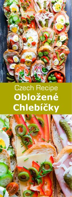 Obložené chlebíčky are delicious Czech bite-sized open-faced sandwiches prepared with assorted eggs, meats, cheeses, and vegetables. #Czech #CzechCuisine #Tapas #Sandwiches #WorldCuisine #196flavors