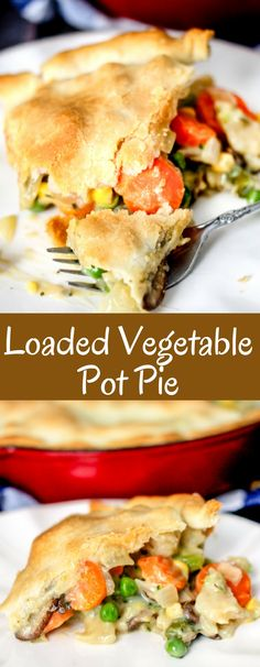 30 Minute Loaded Vegetable Pot Pie is packed full of veggies and is sure to comfort you this winter! So delicious and quick to make! Veg Pie, Vegetable Pot Pies, Vegetable Recipes, Vegetarian Recipes, Cooking Recipes, Cooking Vegetables, Easy Recipes, Vegan Pot Pies, Vegetarian Pot Pies